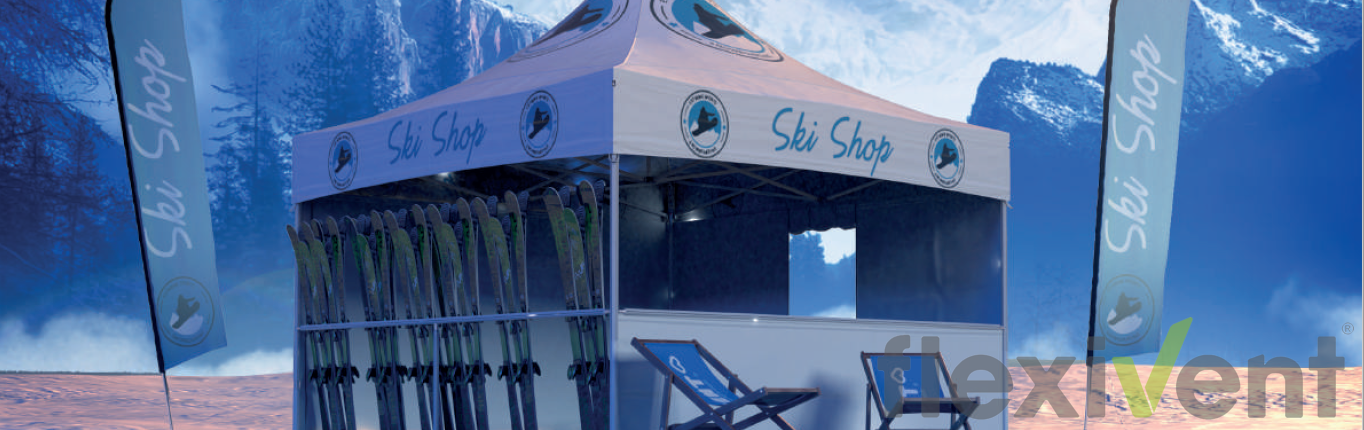 Winterzelt - LPTent Faltzelt Skihalterung mit Beachflag und Stühle