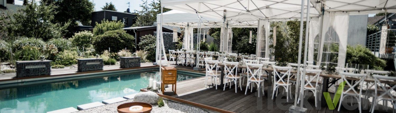 hochzeitszelt - hochzeit faltzelt lptent pagode garten tisch pool vintage