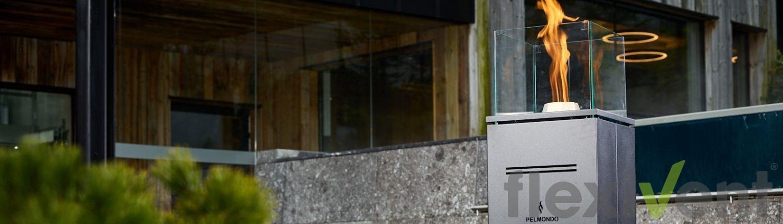 Pelmondo Barcube - lounge terrasse garten feuer flamme pellets